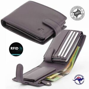 Men's Genuine Cowhide Soft Leather RFID Protected 12 Cards Wallet Coin New