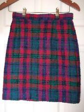 Marks & Spencer Checked Kilt Mini Skirt 8 Length Cerise Purple Green Wool HOLLY