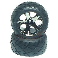 Traxxas Front All-Star Black Chrome Wheels Anaconda Tires Rustler RC Cars #3776A
