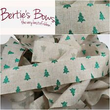 Bertie's Bows 38mm Glitter Christmas Tree Faux Linen Ribbon - Per Metre