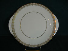 "Royal Doulton Gold Lace 10 3/4"" Handled Cookie / Cake Plate"