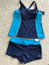 NEW NWT Nike Swimwear two 2 pc athletic swim suit L LARGE 12 tankini boy leg btm