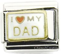 9mm Italian Charm I Love My Dad Red Heart Gold Trim Stainless Steel Modular Link