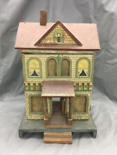 Antique R. Bliss Wooden Dollhouse Lithograph Wood Doll House 2 Story {DD343}