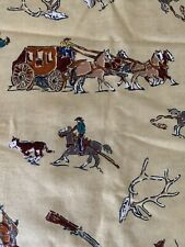 Western Cowboy Vintage Bronco Horse Chuckwagon Fabric Printed BTQY