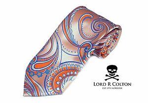 Lord R Colton Masterworks Tie Pale Gold Orange Supremacy Silk Necktie - $195 New
