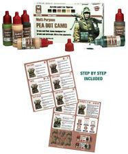 Andrea Miniatures Segunda Guerra Mundial patrón de puntos PEA Camo camuflaje Pintura Set 6 botellas