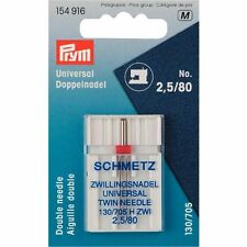 PRYM Schmetz Zwillingsnadel 2,5 / 80 130/705 H Doppel Nähmaschinennadel 154916