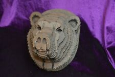 Brown or Black Mounted Wooden Bear Head