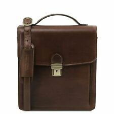 Tuscany Leather 'DAVID' Italian Leather Messenger Bag in Dark Brown RRP £139