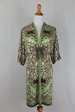 HALE BOB Los Angeles Green Taupe and Beige Print Silk Kimono Sleeve Dress M