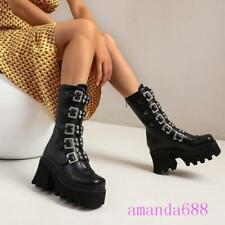 Women Black Mid-calf Gothic Winter Boots Biker Style Platform Punk Shoes Size US
