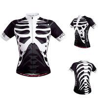 Unisex Summer Zipper Short Sleeve Bike Shirt Jersey Tops Skeleton Sport Cycling
