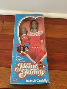 1986 Mattel Heart Family Kiss & Cuddle Mom and Baby Doll AA Black Barbie NRFB