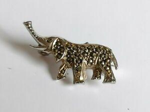 Vintage Cute Elephant Marcasite Animal Art Deco Style Pin Brooch