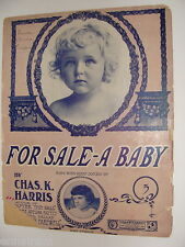 For Sale A Baby 1903 antique sheet music by Chas K  Harris; Baby Harrold cover