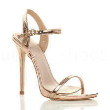 Womens Ladies Very High Heel Buckle Strappy Metallic Barely There Sandals Size Rose Gold UK 4 / EU 37 / US 6