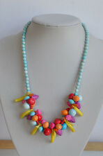 plastic Necklace blue pink yellow Vintage molded fruits charms multi-color