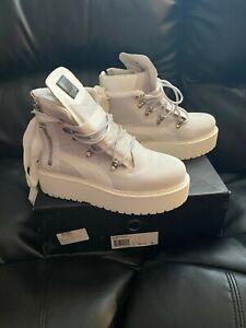 Puma Unisex FENTY  by Rihana  Platform Eyelet Sneaker Boot WHITE
