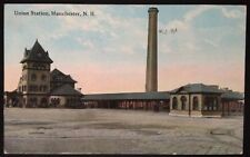 MANCHESTER, NH. C.1914 PC. VIEW OF UNION STATION RAILROAD