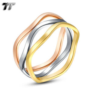 TT Tri-Tone Gold Rose Gold Wave Stainless Steel Party Dress Band Ring (R259)