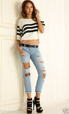 Cotton Hand-wash Only Boyfriend Jeans for Women
