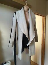 River Island Beige & Black Open Front Waterfall Coat with Tie Belt Size 12