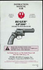 1998 Sturm/Ruger GP100 357 38 Cal Revolver Pistol Rare Owner's Manual Parts List