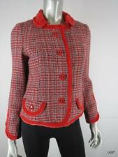 $2400 MARC JACOBS L Luxury Wool Red Blue Plaid Tweed Velvet Trim Coat Jacket EUC