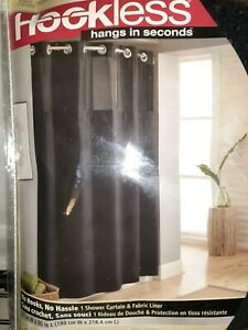 Hookless Waffle 71-Inch X 86-Inch Fabric Shower Curtain in Black  New
