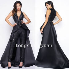 New Lace Black Suits +Pants Long Train High Low V Neck  Evening Cocktail Dresses