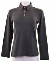 ARMANI JEANS Womens Polo Shirt Long Sleeve Size 14 Large Grey Cotton  KR06