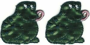"""1 """" Large Vert Grenouille Lot 2 Halloween Broderie Patch"""