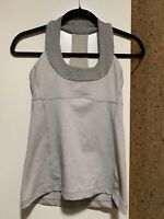 Lululemon Scoop Neck Tank Top Mesh Racerback, Size 4, Gray, Built In Bra