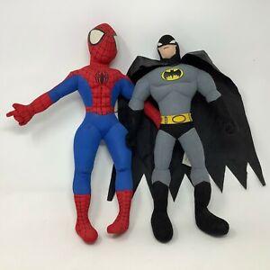 Nanco Batman Doll & Kellytoy Spiderman Doll Soft Plush Set - Marvel & DC Comics