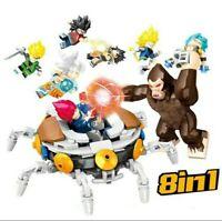 LOTE 8 FIGURAS DRAGON BALL 8 EN 1 CON MONO - ESTILO LEGO COMPATIBLES SIN CAJA