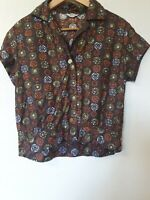 True Vintage St Michael Retro Print Semi Crop Short Blouse Top Size 10 12...