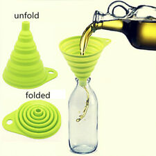 Creative Kitchen Mini Silicone Foldable Collapsible Style Funnel Hopper Tool 1pc