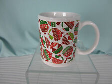 Christmas Holiday Coffee Mug Red White Green Ball Ornaments Kitchen Break New