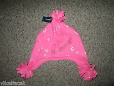 NWT Girl's Old Navy Pink with Metallic Peace Sign Hat with Pom ~Size L-XL