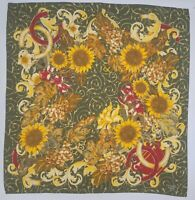 Collectible 1970s Chanel Paris Sunflower Grape Designed Vintage Fully Silk Scarf