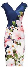 Wallis Navy Floral Scuba Sheath Dress 8