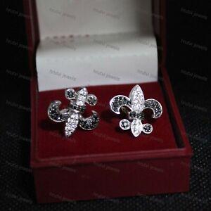 10K White Gold Over Diamond Earrings Fleur De Lis Stud Screwbacks