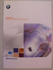 Prospekt BMW Individual Farben- und Materialübersicht, 1997, 8 Seiten, folder