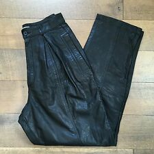 Vintage 90's TOFFS Women's High Waisted Black Leather Pants Pleated Tapered 10M