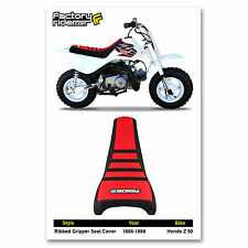 1988-1999 HONDA Z 50 Black/Red/Black RIBBED GRIPPER SEAT COVER BY Enjoy MFG