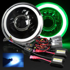 "7"" Round PAR56 Black Housing Blue 3D SMD Halo Projector Headlights/10000K HID"