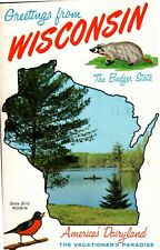 Postcard Greetings from Wisconsin,Badger State,America's Dairyland,1964