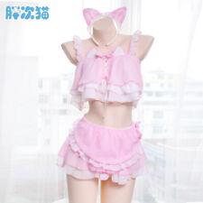 Cosplay Cat Girl Set Chiffon pajamas Sexy Japanese Women Sleepwear Nightdress
