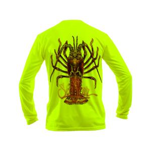 Sea Fear Men's 50+ UPF Long Sleeve Rash Guard Scuba Diving Lobster-Large Neon YL